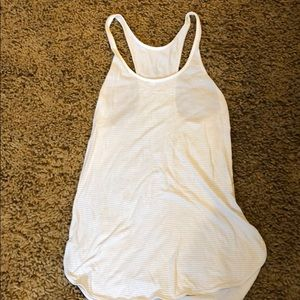 Lululemon white with grey striped soft tank